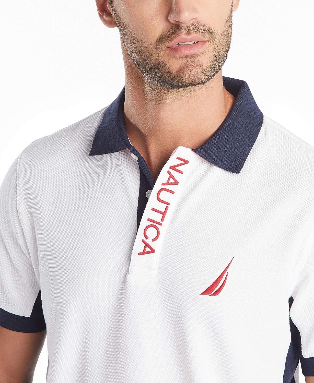 Nautica Mens Short Sleeve Color Block Performance Pique Polo Shirt Polo Shirt