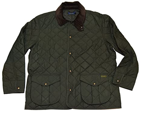 Ralph Lauren Polo Mens Diamond Quilted Jacket Coat Corduroy Olive Green  Large
