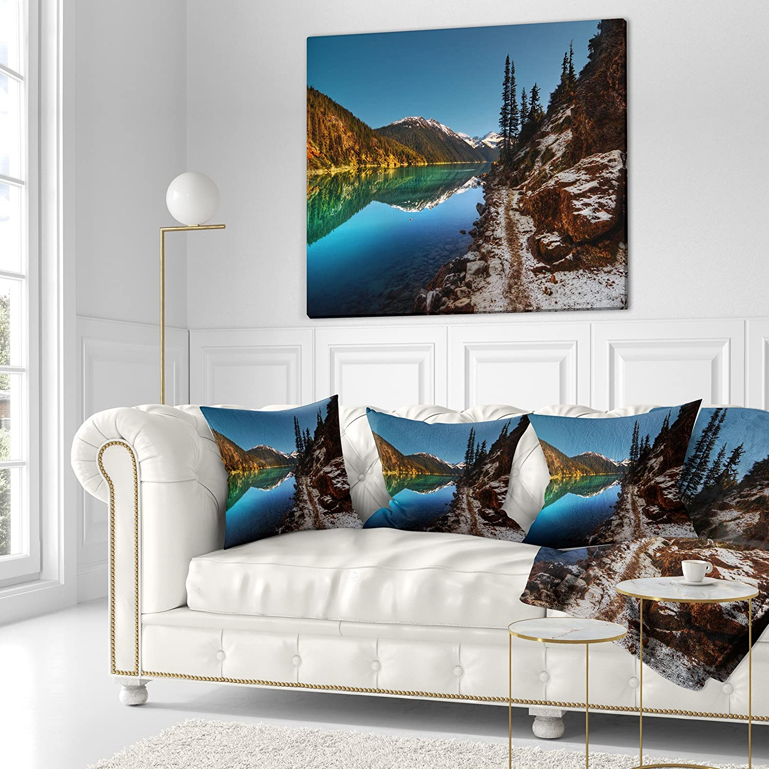 Sofa Designart Cu14410 16 16 Blue Clear Lake With Mountains Landscape Printed Cushion Cover For Living