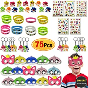 75 Pack Baby Shark Party Favors | Doo Bag - Face Mask, Hand Tattoo, Finger Ring, Key Chain, Wrist Bands | Shark Themed Party Supplies for Kids Birthday Decorations | Baby Shark Goodie Bags