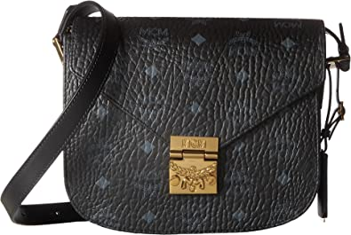 MCM Women s Patricia Visetos Small Shoulder Black One Size  Handbags ... c962061cae1db