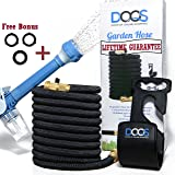 50 Ft Expandable Garden Water Hose Reel Retractable with Extra Spray Nozzle, High Pressure and Soap Dispenser - (Expanding X3 Reel Brass), Perfect for Gardening, Watering Plants, Lawn and More by DooS