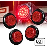 """ONLINE LED STORE 4PC 2"""" Round 10 LED Clearance Light [2 in 1 Reflector] [Polycarbonate Reflector] [10 LEDs] [D.O.T. Certified] [2 Year Warranty] Side Marker Light for Trucks and Trailers - Red"""