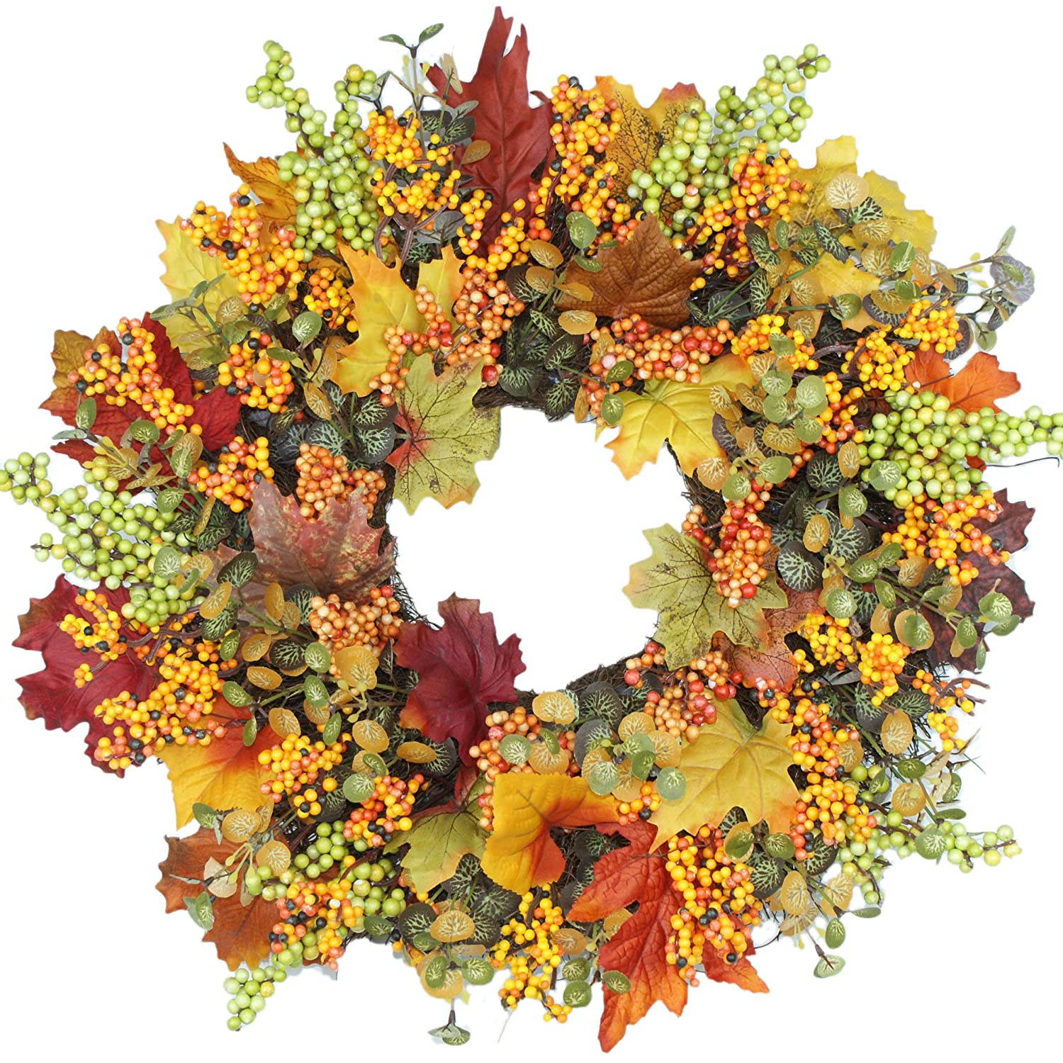 Emlyn Berry Fall Front Door Wreath 18 Inches - Lush Seasonal Foliage and Berries, Approved for Covered Outdoor Use,Home Decor, Year Round Wreath, Door Wreath,