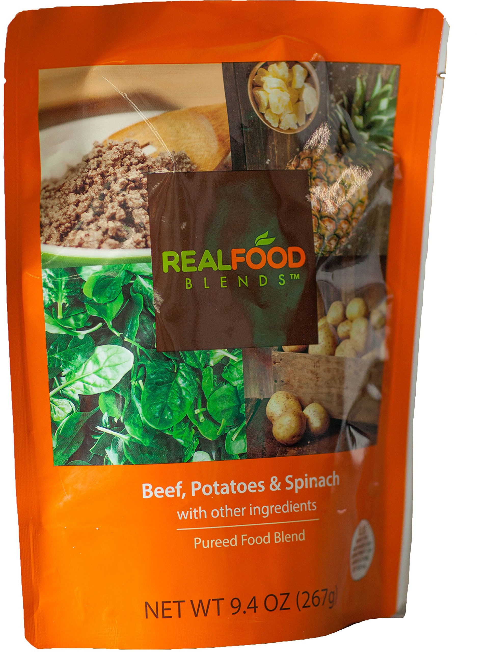 Real Food Blends Beef, Potatoes & Peas Pureed Blended Meal, 9.4 Oz Package (Pack of 12) by Real Food Blends