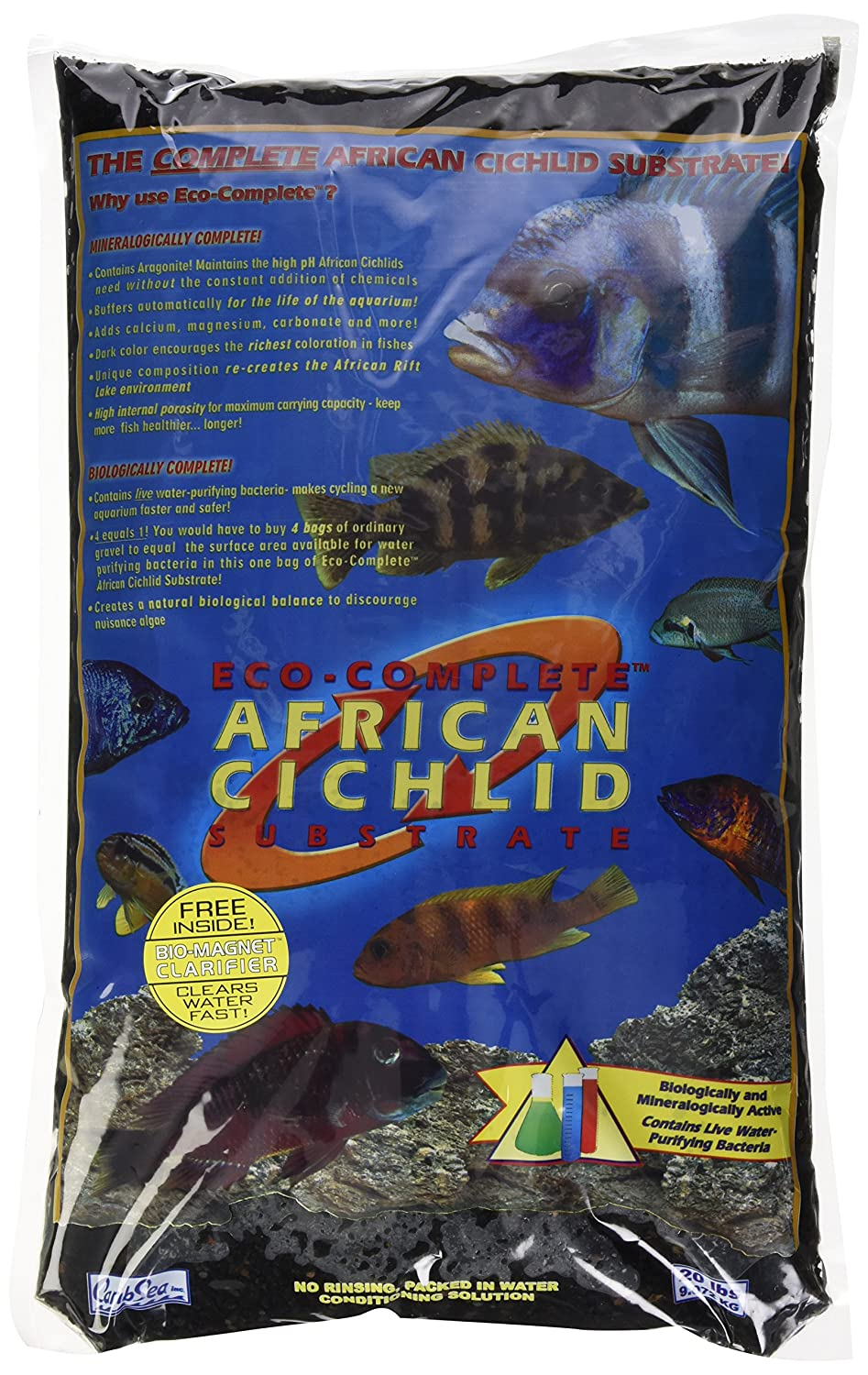 CaribSea Aquatics Eco-Complete African Cichlid Zack Sand, 20-Pound, Black