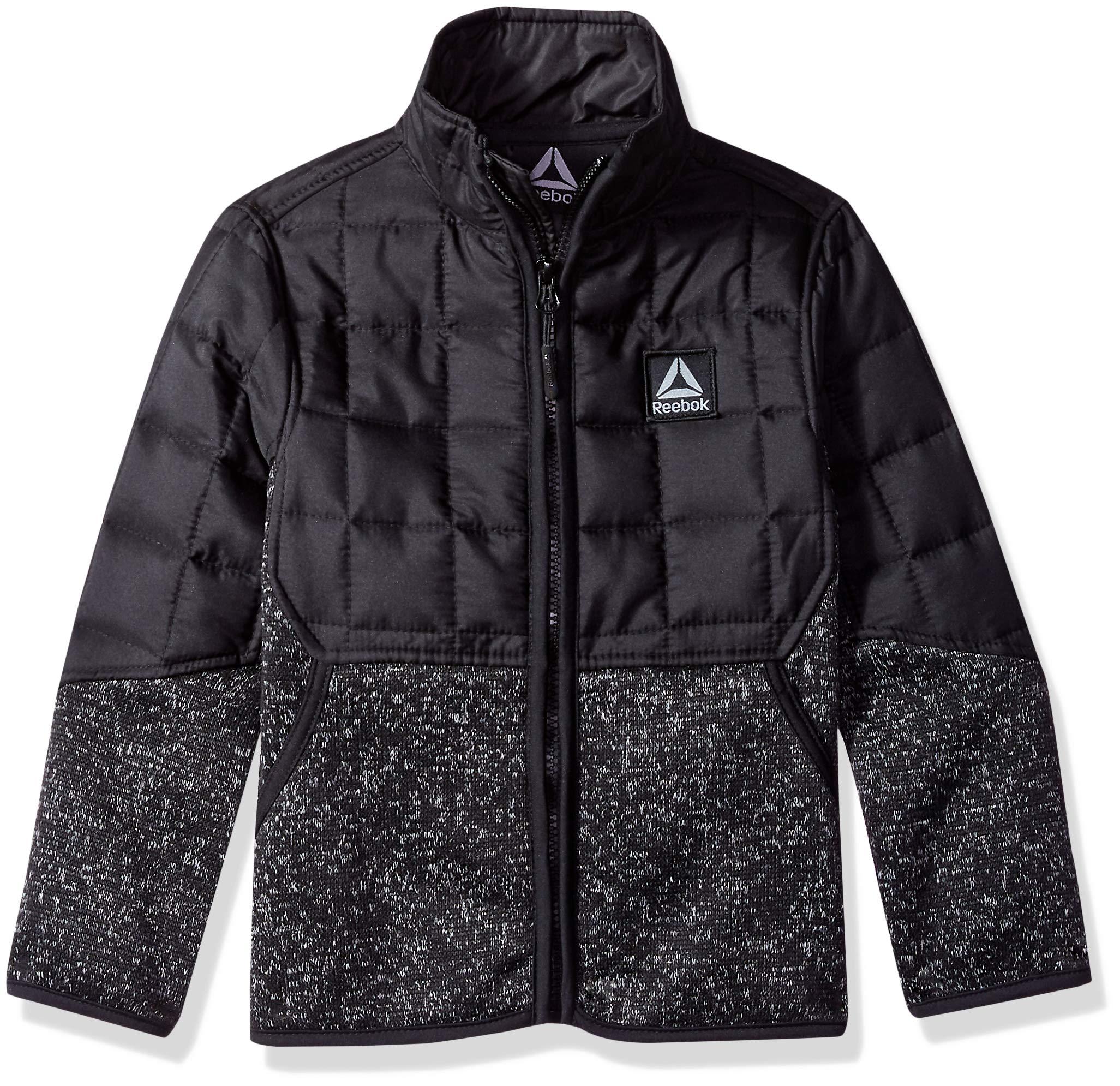 Reebok Boys' Little Active Soft Sweater Fleece Jacket, Black Heather, 5/6