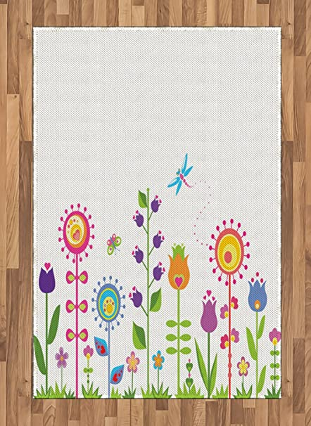 amazon com ambesonne tulip area rug cute floral set with different
