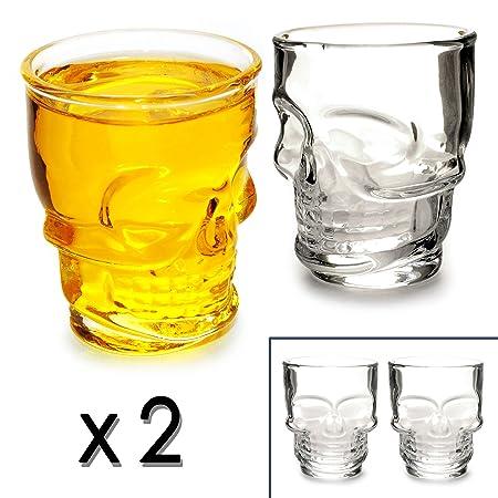 SET de 2 shot en verre avec totenkopfdesign 5cl/50 ml, skull head ...