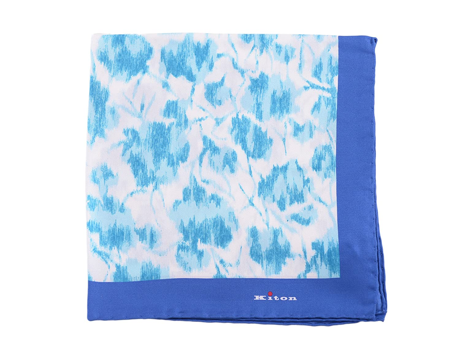 Kiton Blue Abstract Floral Silk Pocket Square Handmade In Italy