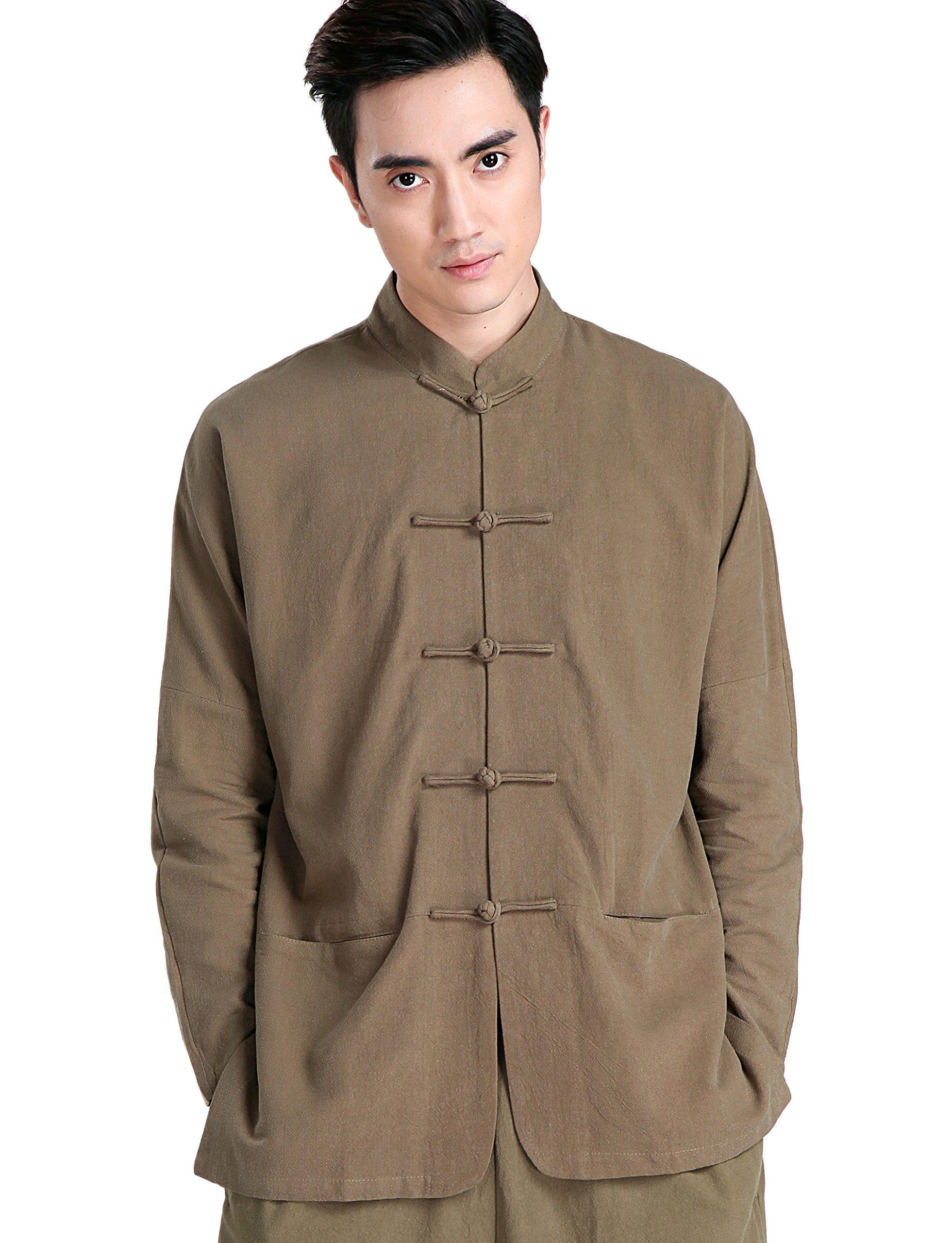 ACVIP Men Long Sleeves Tai Chi Kung Fu Jackets Tops (China 3XL/US XL, Brown)