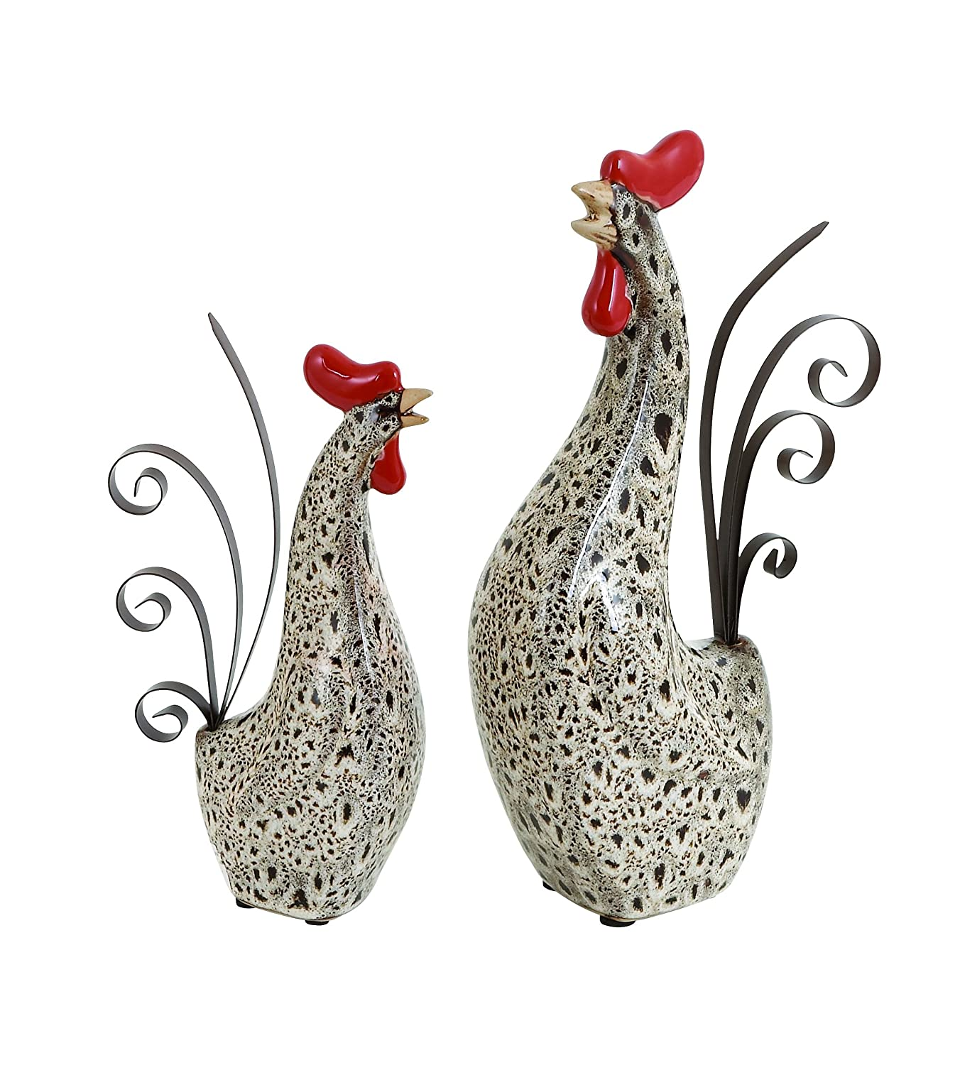 benzara ceramic metal rooster with spotted black