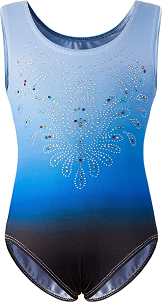 Arshiner Girls Gymnastics Leotards Color Gradient Sparkle Dance Ballet Outfit