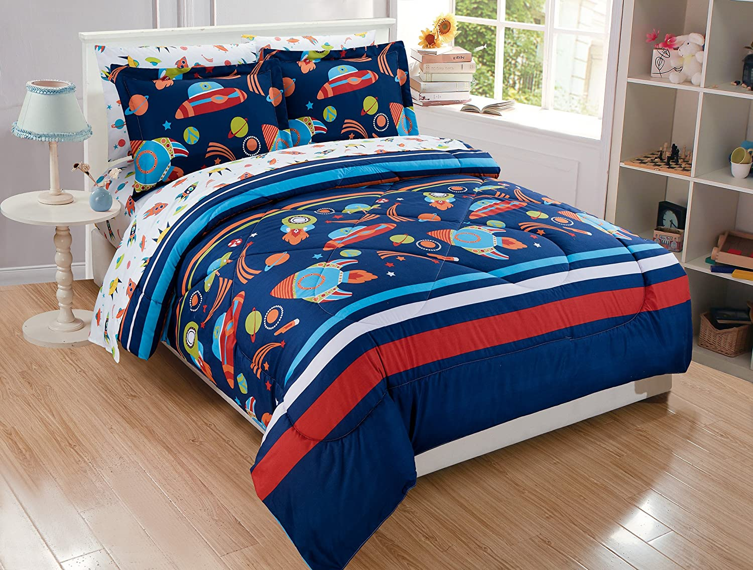 Fancy Linen 7pc Full Comforter Set With Matching Sheets Solar System Universe Galaxy Stars Rocket Spaceship Navy Blue Orange White Red