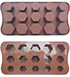 ADS Silicone Pastry Chocolate Cake Mold Baking Pan - Hexagon - 15 Cavities - 3 Sizes