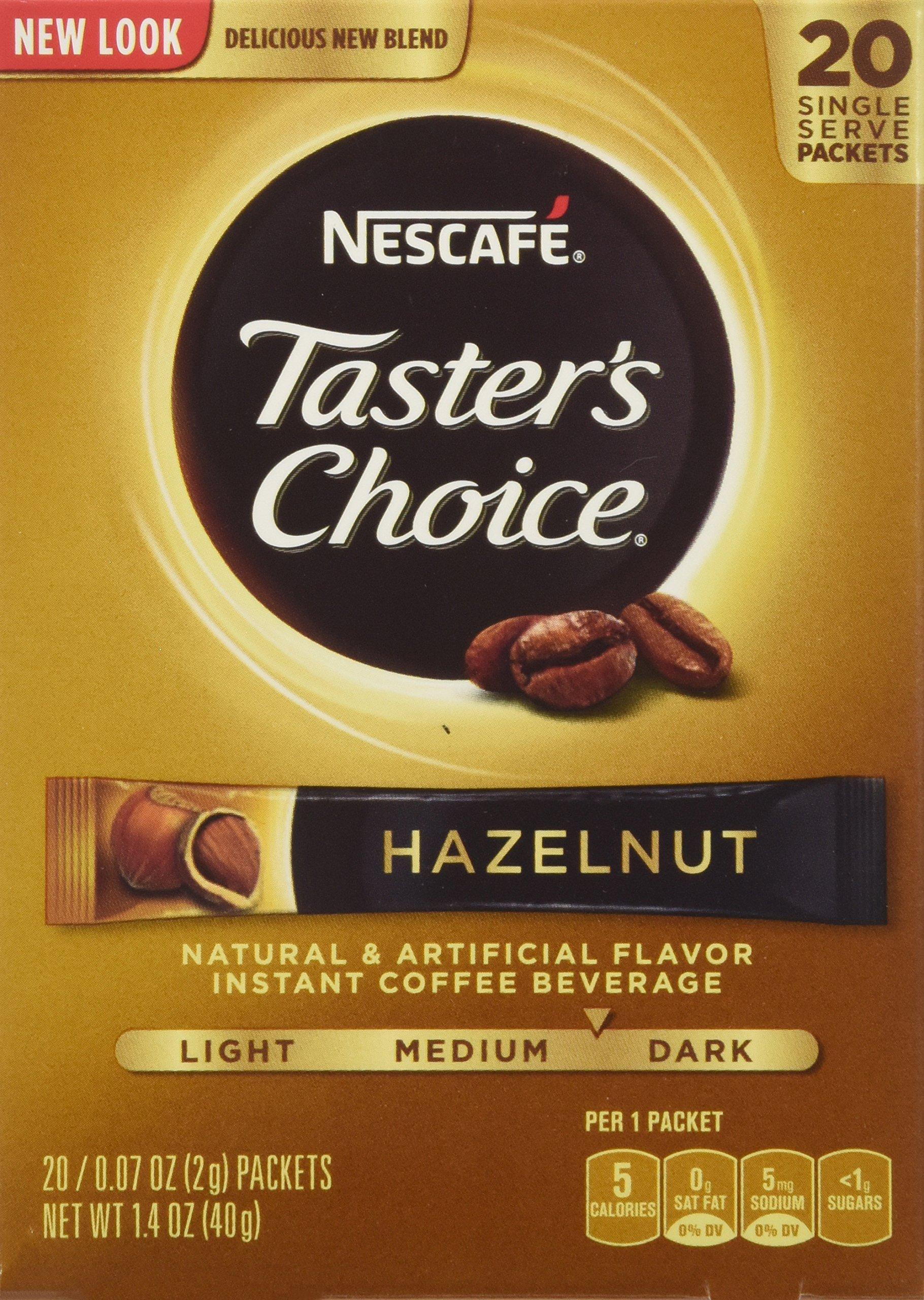 Nescafe Taster's Choice Instant Coffee Hazelnut, 20-Count Sticks (Pack of 8)