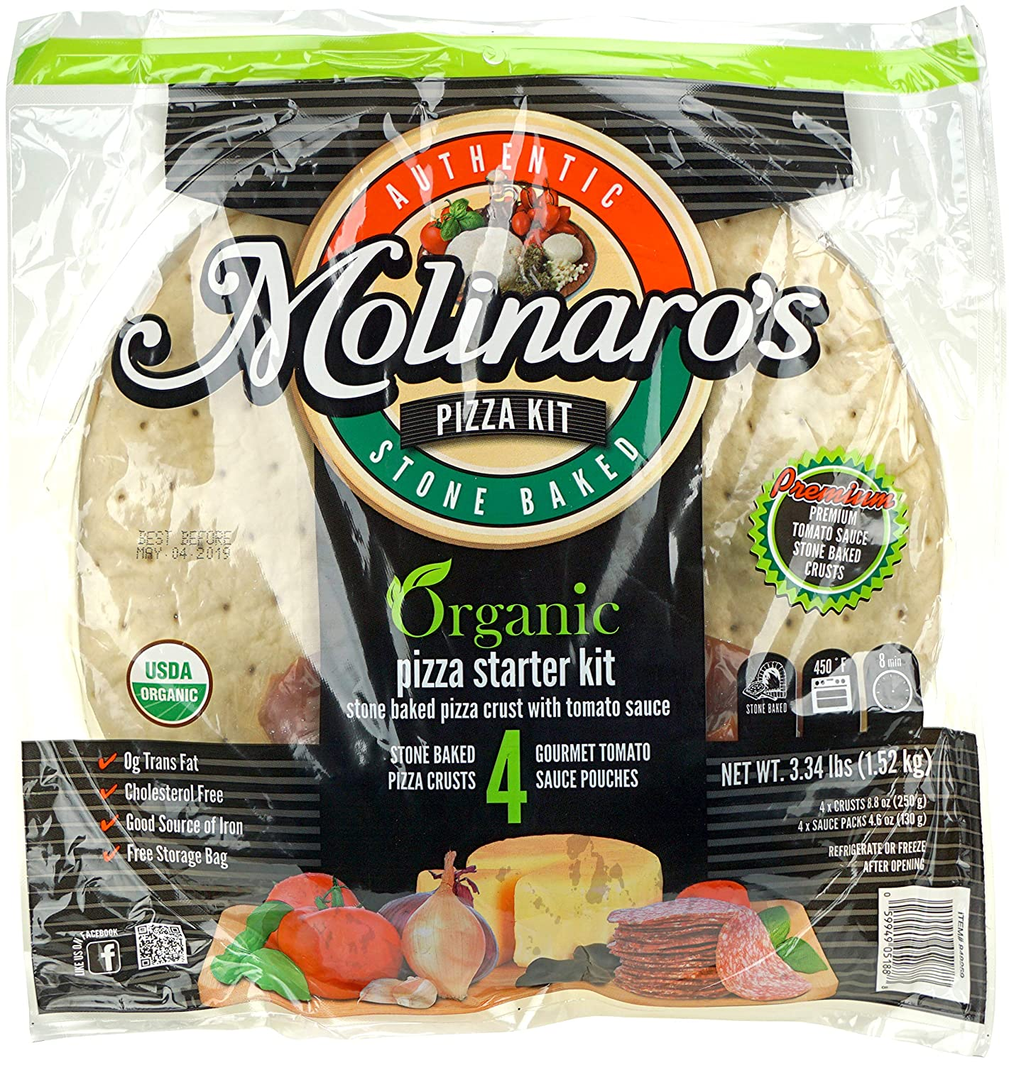 Molinaro's Organic Pizza Starter Kit - 4 Stone Baked Pizza Crusts and 4 Gourmet Tomato Sauce Pouches