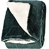 "Life Comfort Microfiber Plush Polyester 60""x70"" Large All Season Blanket for Bed or Couch Ultimate Sherpa Throw, Blue Green"