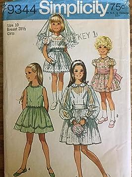 Vintage Simplicity 9344 – Patrones de costura para vestidos de niña flores niña, vestido de