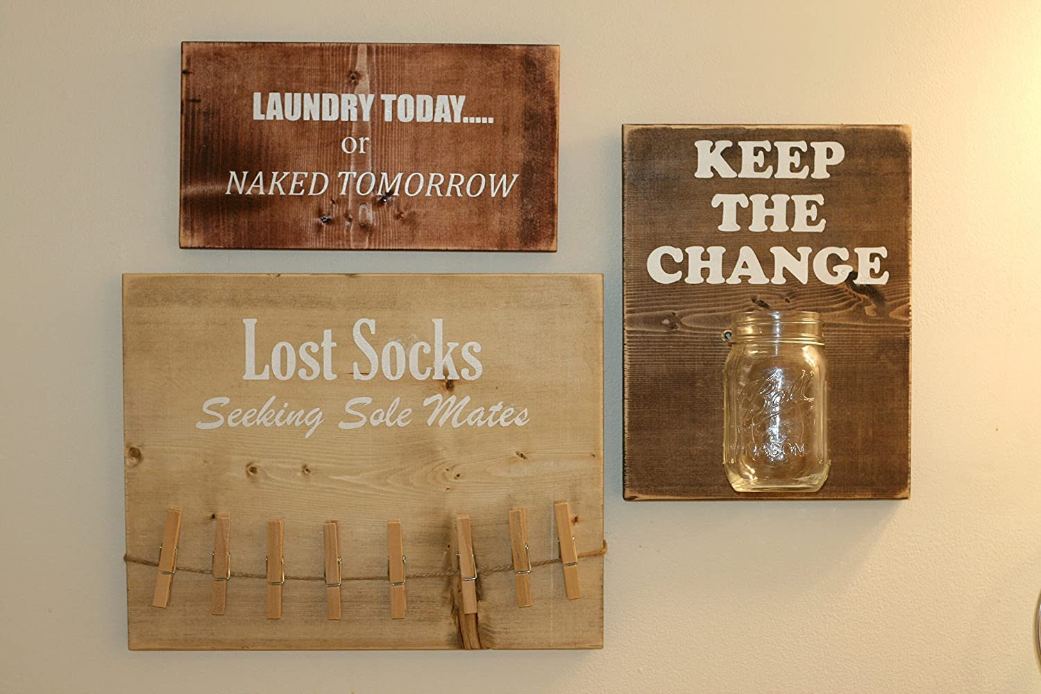 Laundry Room Signs Set of 3, Lost Socks, Keep The Change & Laundry Today or Naked Tomorrow signs.