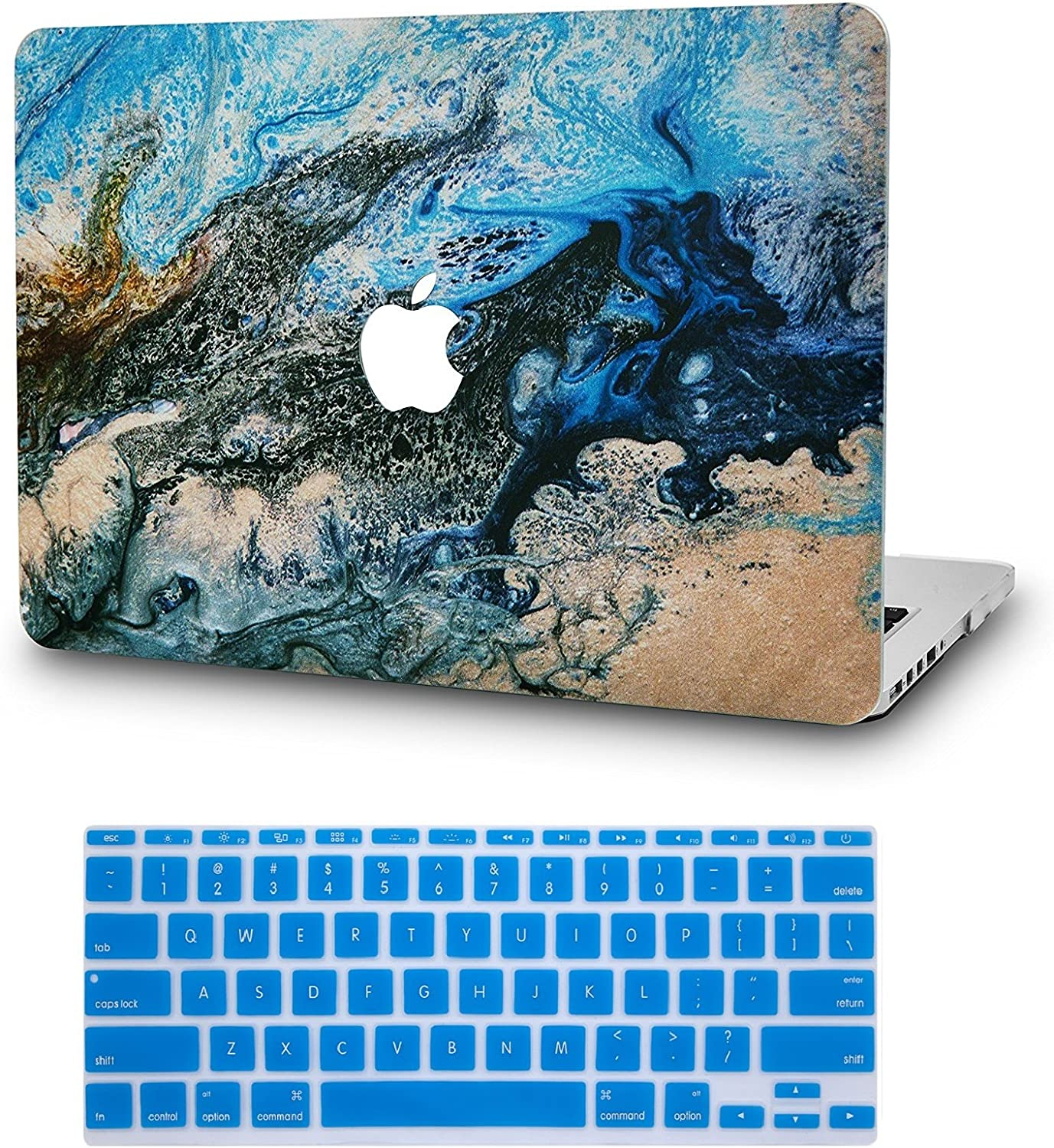 """KECC Laptop Case for MacBook Pro 13"""" (2020/2019/2018/2017/2016) w/Keyboard Cover Plastic Hard Shell A2159/A1989/A1706/A1708 Touch Bar 2 in 1 Bundle (Sea)"""