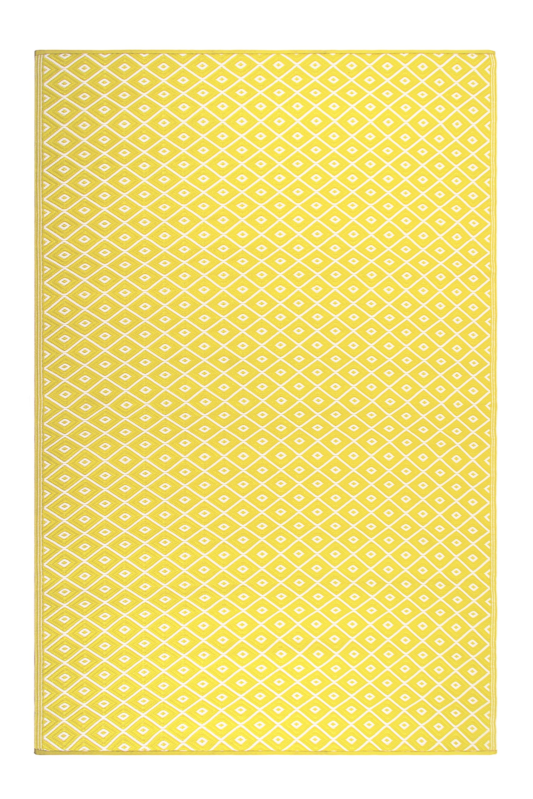 FH Home Indoor/Outdoor Recycled Plastic Floor Mat/Rug - Reversible - Weather & UV Resistant - GM16 - Yellow (5 ft x 8 ft) by FH Home (Image #1)