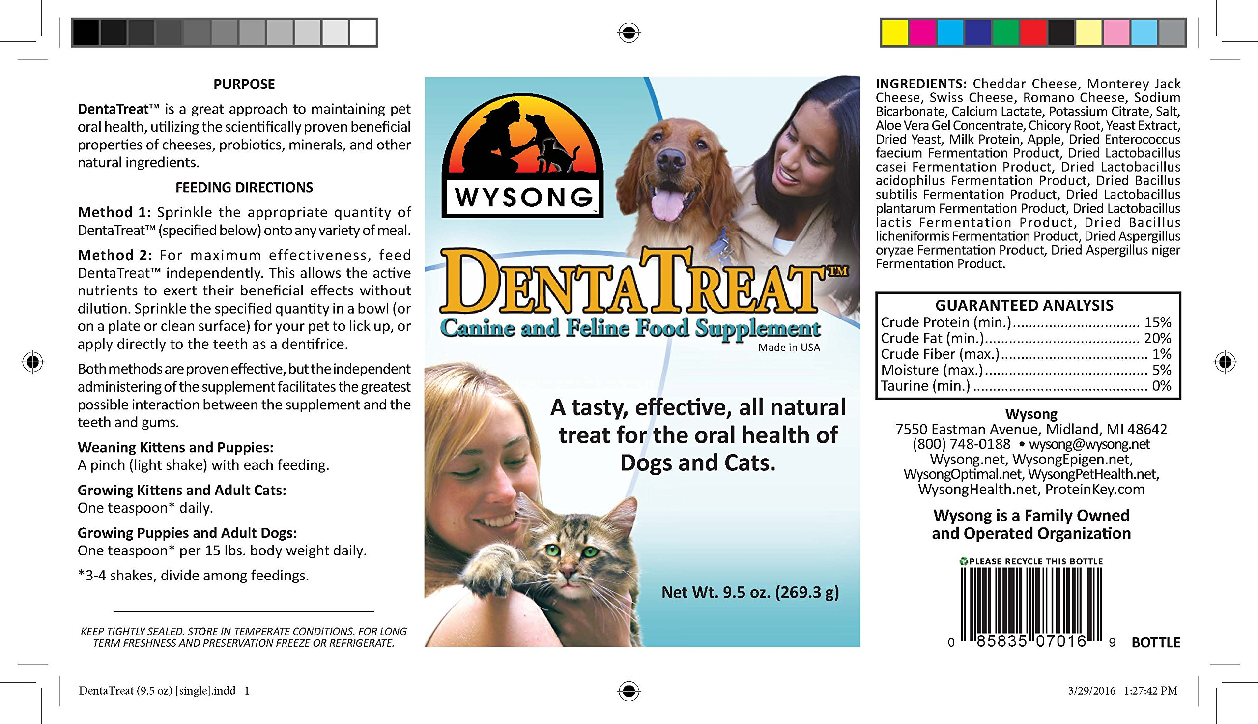 Wysong DentaTreat Canine/Feline - Dog/Cat Food Supplement - 9.5 Ounce Bottle