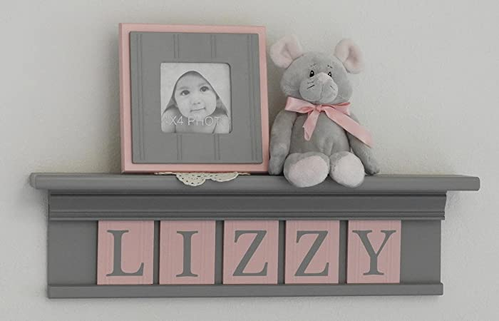 Baby Girl Nursery Decor Pink And Gray - Light Pink Baby Girl Nursery Shelf, Custom Nursery Decor  Shelves, Handmade Shelf Painted In Grey, Painted Tiles In Light Pink With  Gray ...