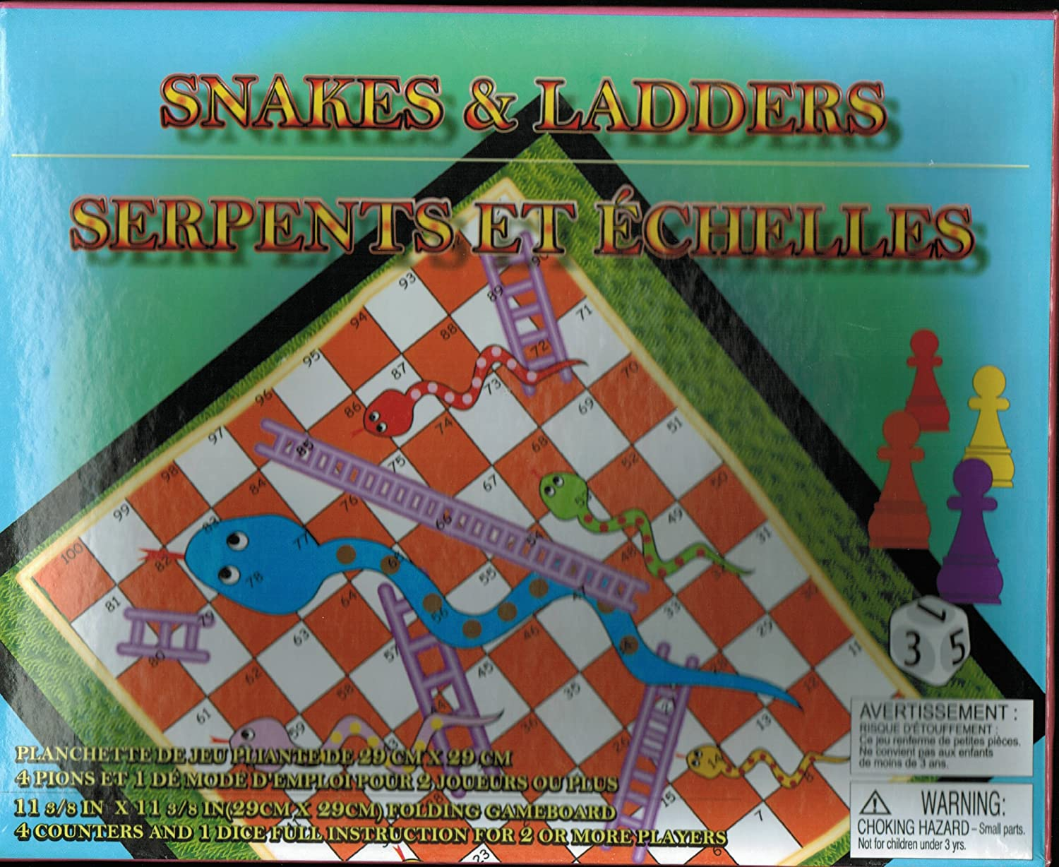 4b94dcf3b450 Amazon.com  SNAKES and LADDERS GAME BOARD  Toys   Games