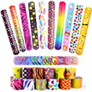 FEPITO 25 PCS Slap Bracelets Slap Wrist Bands with Hearts Animal Emoji Patterns for Kids Birthday Party Bag Fillers School Goodie Bag Little Toys Favours