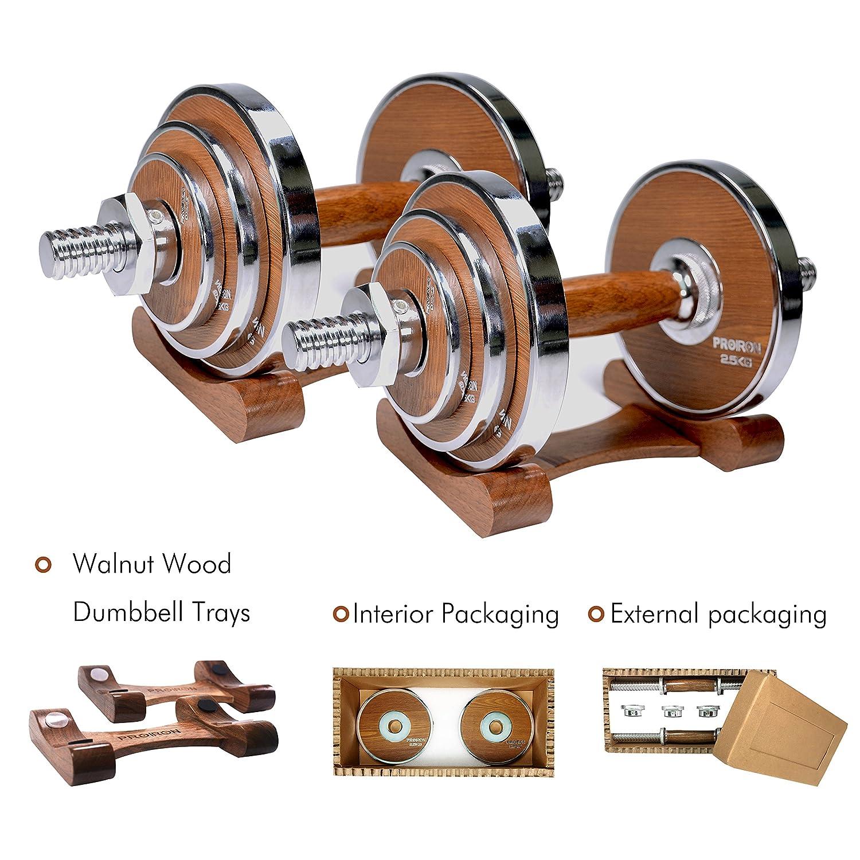 PROIRON Mancuernas ajustables 20kg con mancuernas de acero y nuez para gimnasio en el hogar u oficina (par): Amazon.es: Deportes y aire libre
