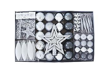 Schmuck Für Weihnachtsbaum.Heitmann Deco Weihnachtsbaum Schmuck Silber 60 Teilig Set Inkl Baumspitze Kugeln Perlkette Girlande Und Sterne Kunststoff