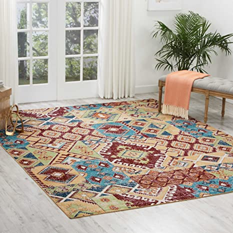 Nourison Aria Vintage Bohemian Moroccan Patchwork Area Rug 7 Feet 10 Inches By 10 Feet 7 10 X 10 Sunset Beige Red Furniture Decor