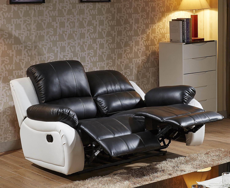 Voll-Leder Fernsehsofa Relaxsofa 2-Sitzer 5129-2-SW