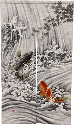 Ebros Gift Made in Japan Japanese Style Split Noren Doorway Curtain Tapestry Standard 59.25 Long 33.5 Wide for Restaurant Or Home Room Divider Decor Curtains Waterfall Two Koi Fishes
