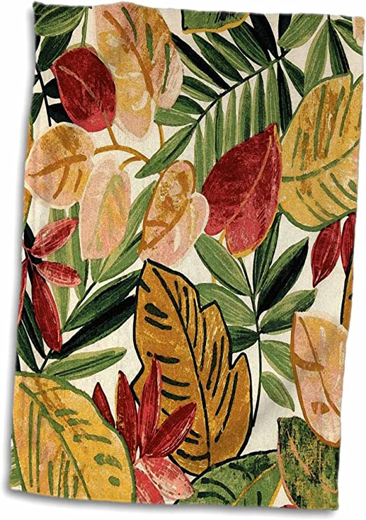 3dRose Tropical Leaves Print Towel 15 x 22