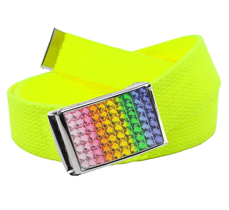 Girl's School Uniform Sparkly Rainbow Crystal Flip Top Buckle with Canvas Web Belt 7700G-$P