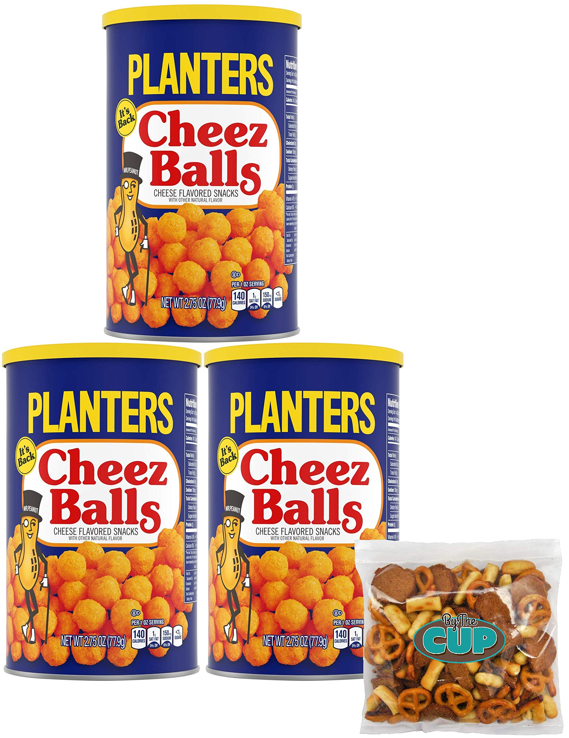 By The Cup Snack Pack - Planters Cheez Balls 2.75 Ounce Canister (Pack of 3) - with By The Cup Snack Mix by By The Cup