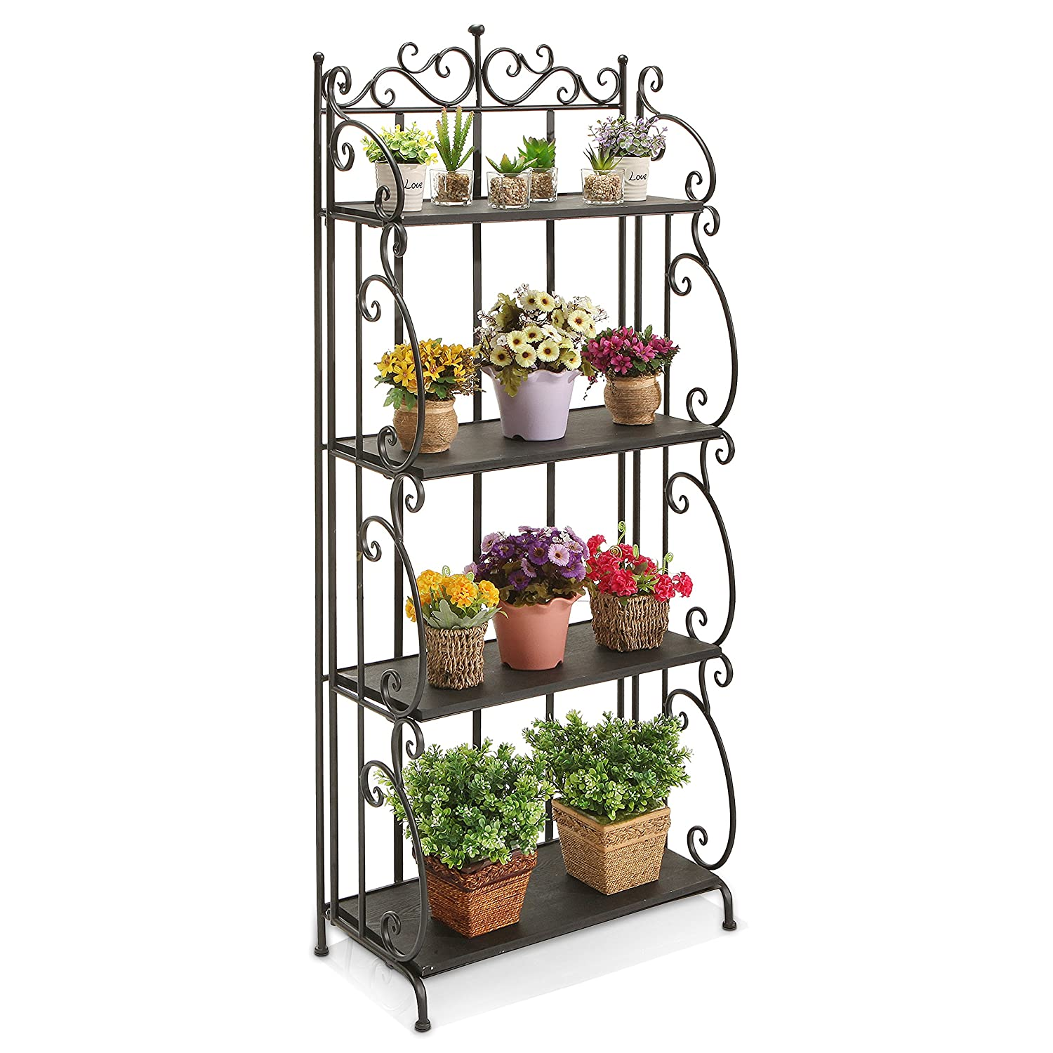 Amazon.com MyGift Victorian Scrollwork Design 57 Inch Tall Folding Black Metal Bookshelf / 4 Tier Storage Organizer Solid Wood Shelves Rack Home u0026 Kitchen  sc 1 st  Amazon.com & Amazon.com: MyGift Victorian Scrollwork Design 57 Inch Tall Folding ...