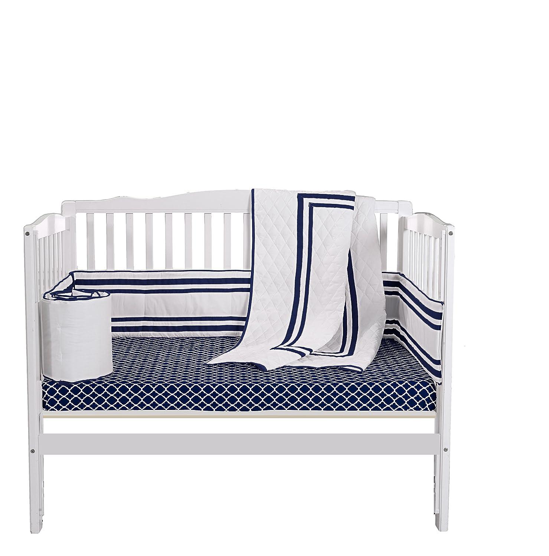 Baby Doll Bedding Soho Mini Crib/Port-a-Crib Bedding Set with 100% Cotton Trellis Design Sheet, Navy