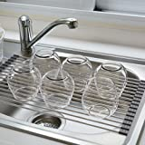 Blu Pier Over the Sink Dish Drying Rack Stainless Steel, Space Saving, Rollable Dish Rack