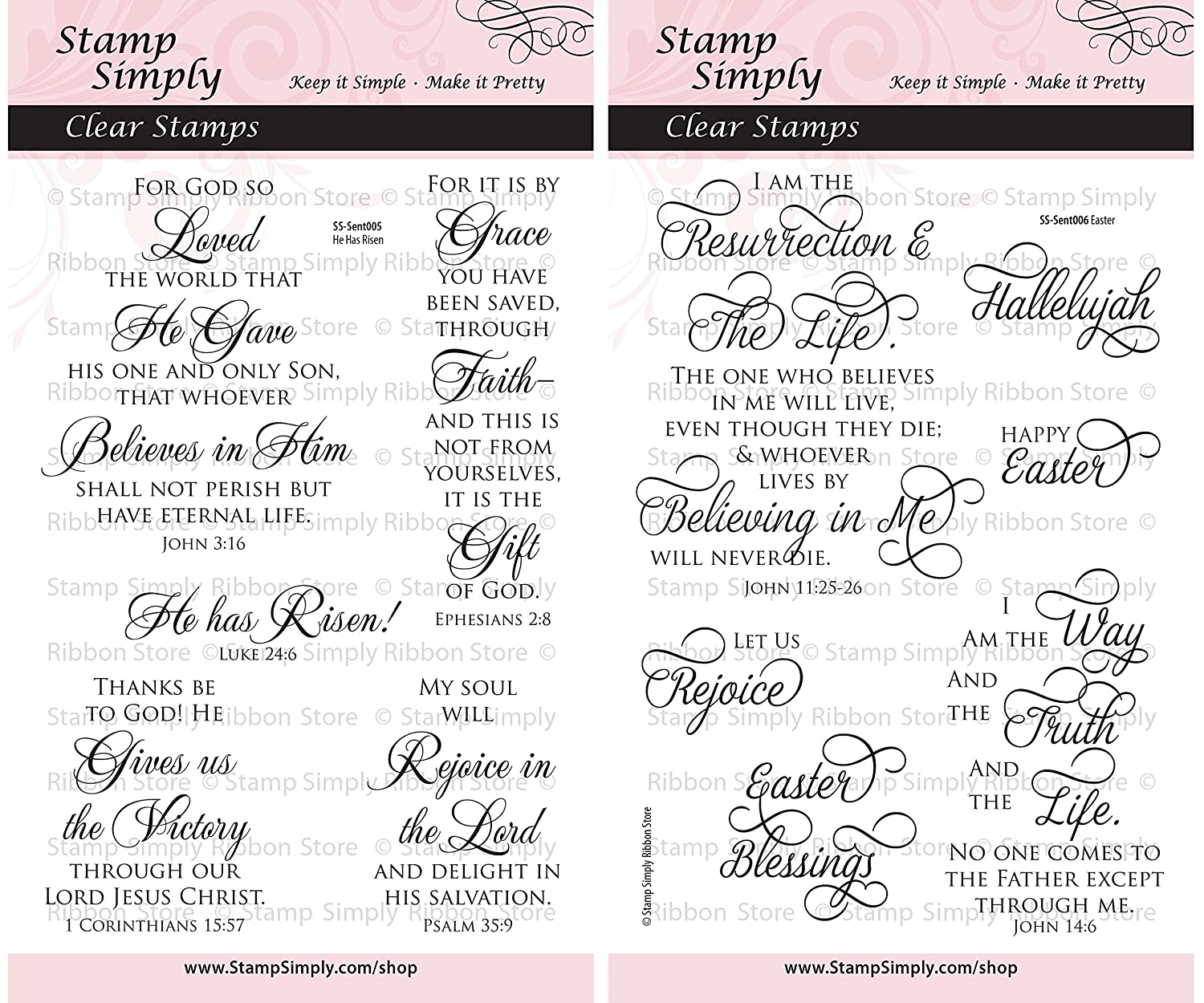 Stamp Simply Clear Stamps Easter Scripture Christian Religious (2-Pack) 4x6 Inch Sheets - 11 Pieces SS-EasterDUO