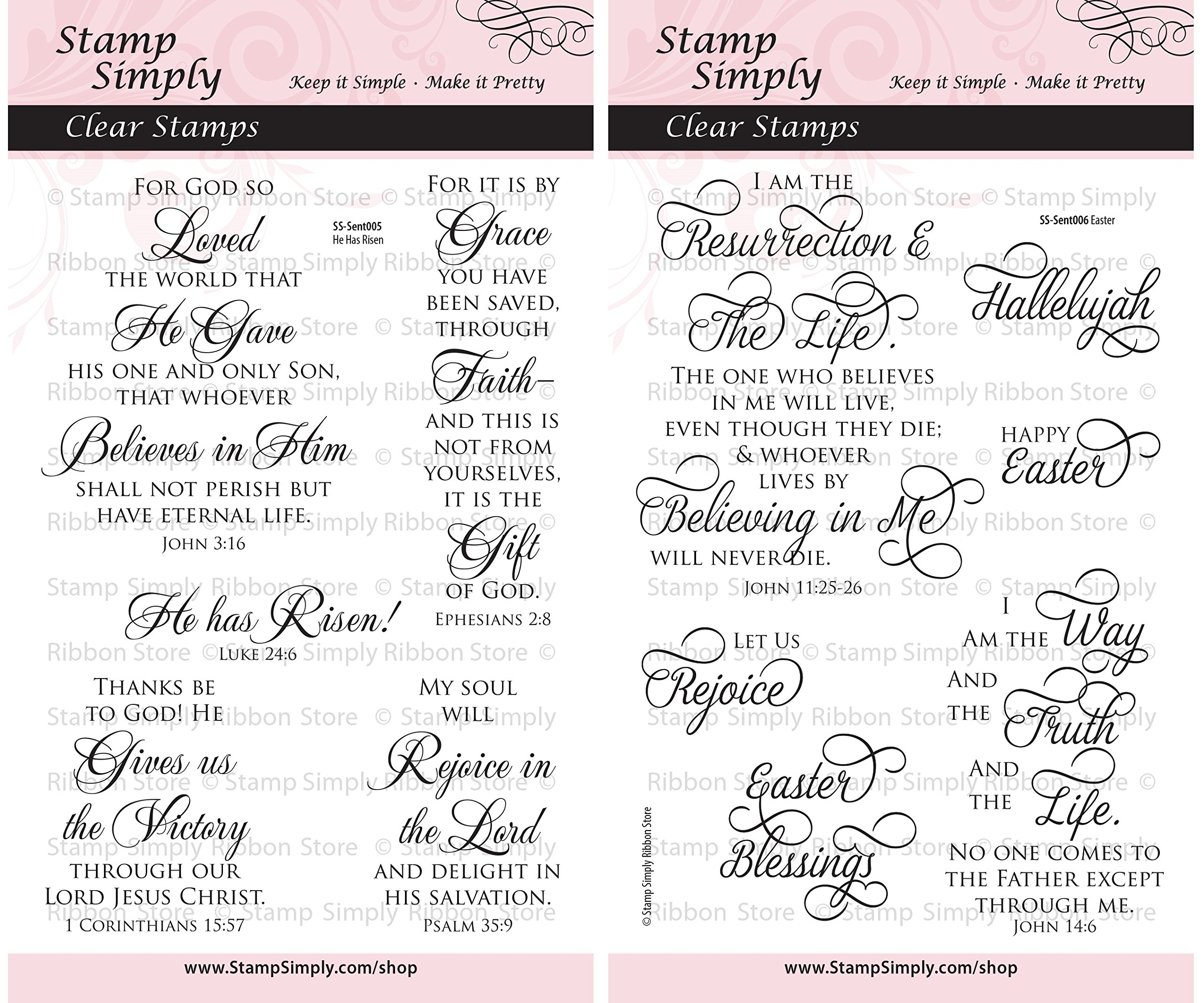 Stamp Simply Clear Stamps Easter Scripture Christian Religious (2-Pack) 4x6 Inch Sheets - 11 Pieces