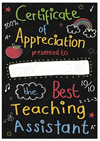 Best Teaching Assistant Certificate Of Appreciation In Gift Box ...