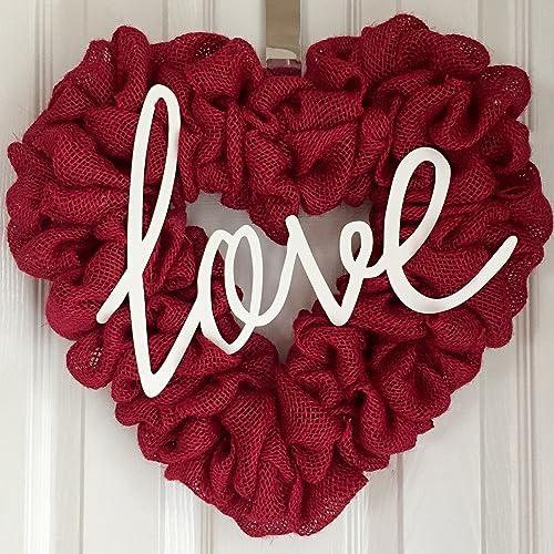 Red Burlap Heart Wreath - Heart Door Hanger - Heart Shaped Wreath - Heart Shaped Love & Amazon.com: Red Burlap Heart Wreath - Heart Door Hanger - Heart ...