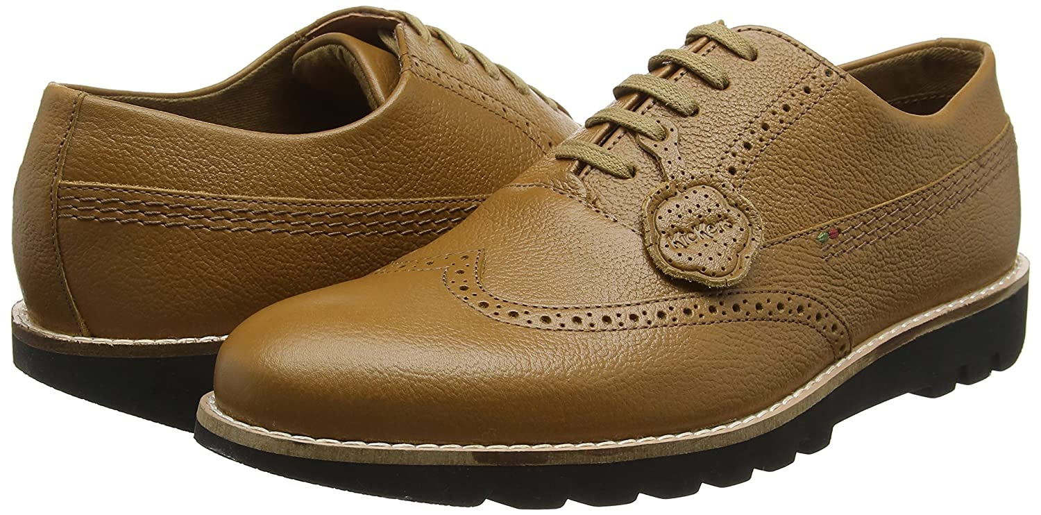 Amazon.com | Kickers Mens Kymbo Brogue Tan Leather Lace Up Shoes Size | Shoes