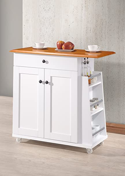 Wholesale Interiors Balmore Lacquered Wood Kitchen Cart Trolley Cabinet,  White