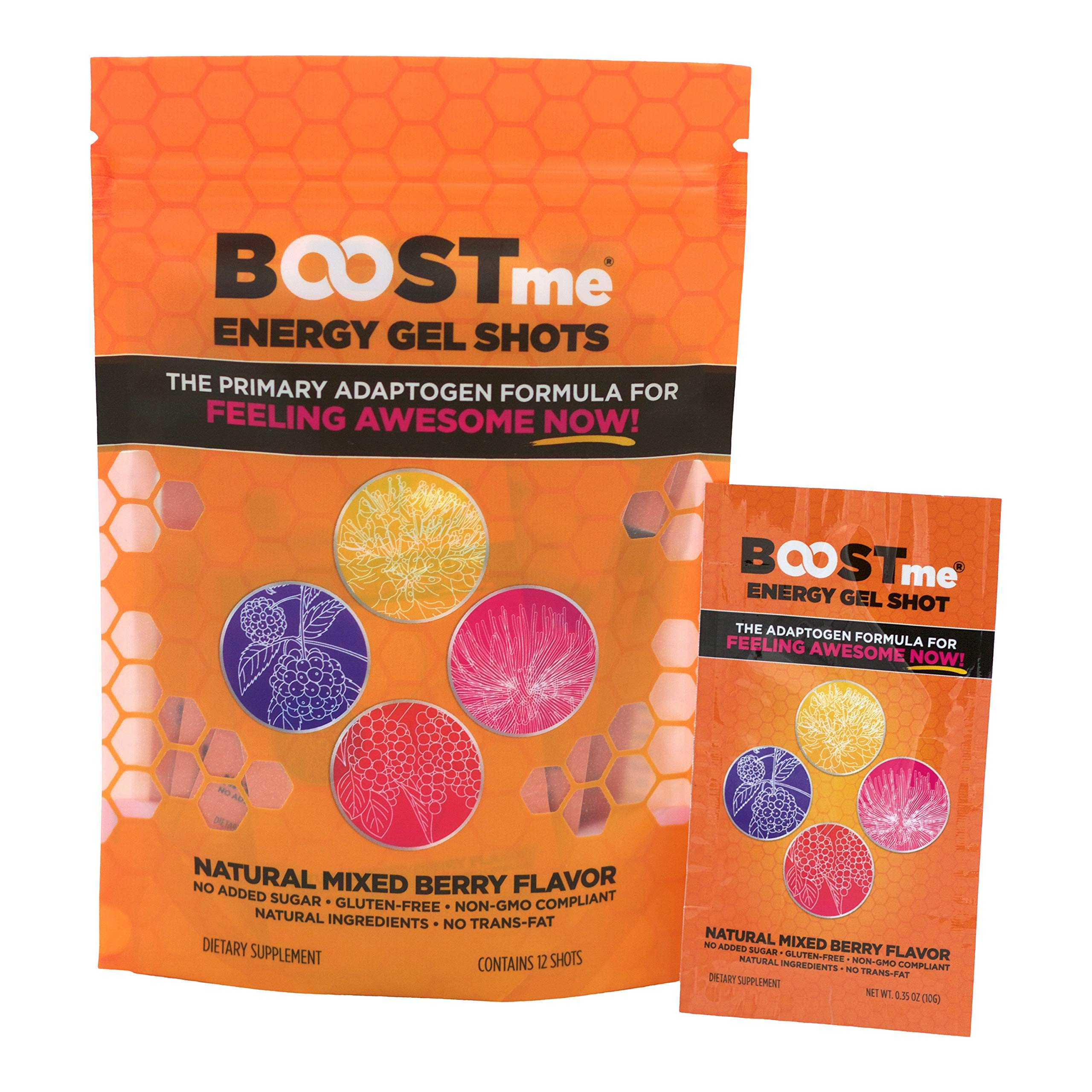 BOOSTme Now - Energy Gel Shot - All Natural Energy Boost for Men and Women - Exercise and Endurance Fuel - Mixed Berry Flavor (12) by BoostMe