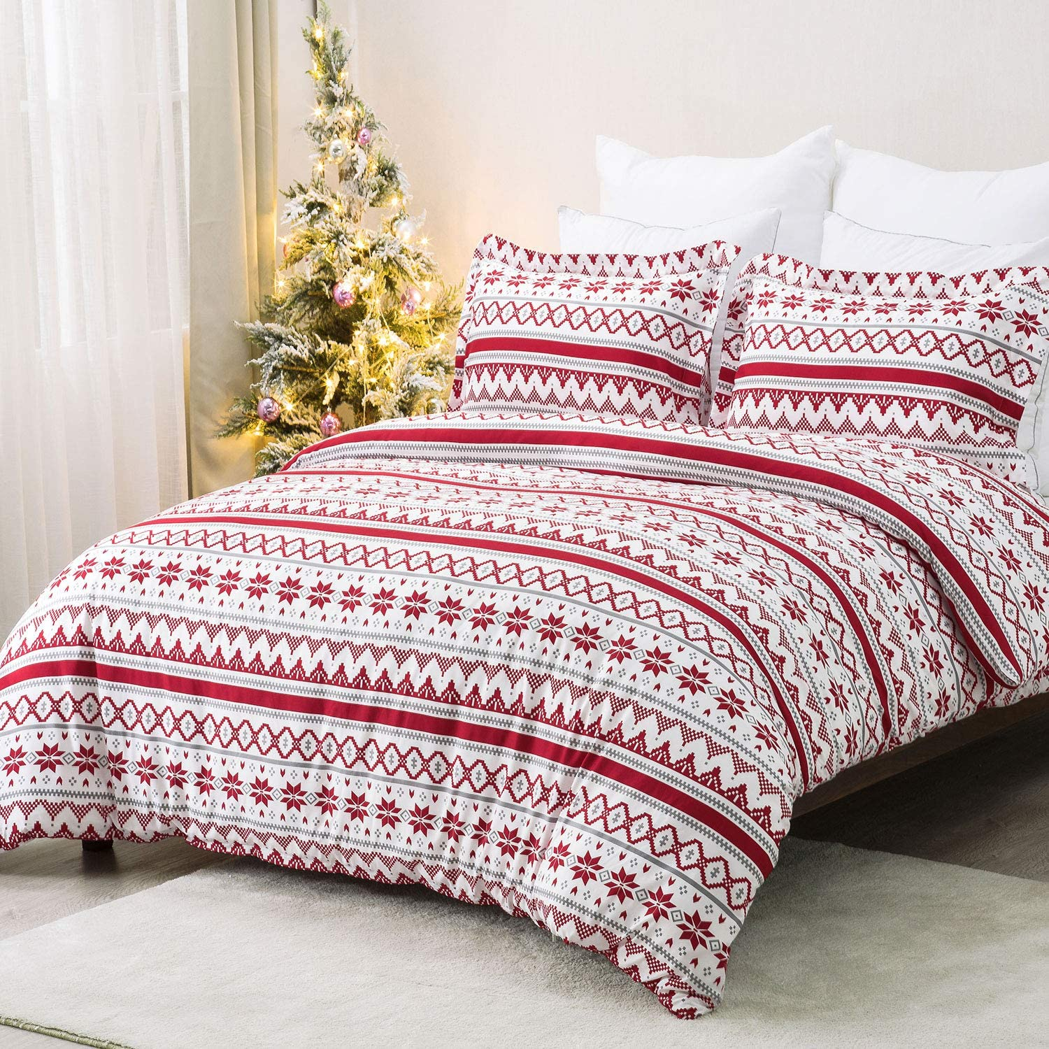 Bedsure Christmas Duvet Cover Set, Full/Queen (90×90 inches) - Reversible Fair Isle Pattern - Soft Microfiber Comforter Cover, 3 Pieces Bedding with 1 Duvet Cover (No Comforter Insert), 2 Pillow Shams