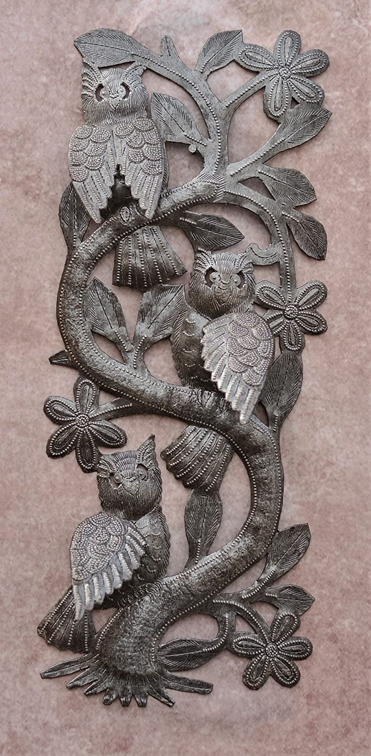 Spring Garden Wall Hanging Plaques from Haiti Decorative Owls Three Owls in a Tree Handmade from Recycled Steel Barrels 7 x 18 Inches
